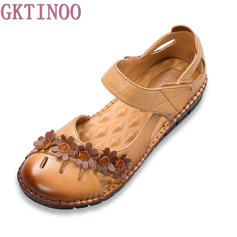 121245247e90 New Arrival Vintage Handmade Summer Sandals Women Flats Shoes Casual Soft  Outsole Closed Toe Gladiator Sandals Women Gold Sandals Sandals For Women  From ...