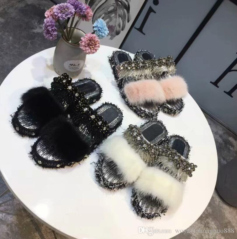 Women Rivets open toe flat sandals 3 colour Style women real natural feather turkey fur fuzzy slippers slides mules size 35-40