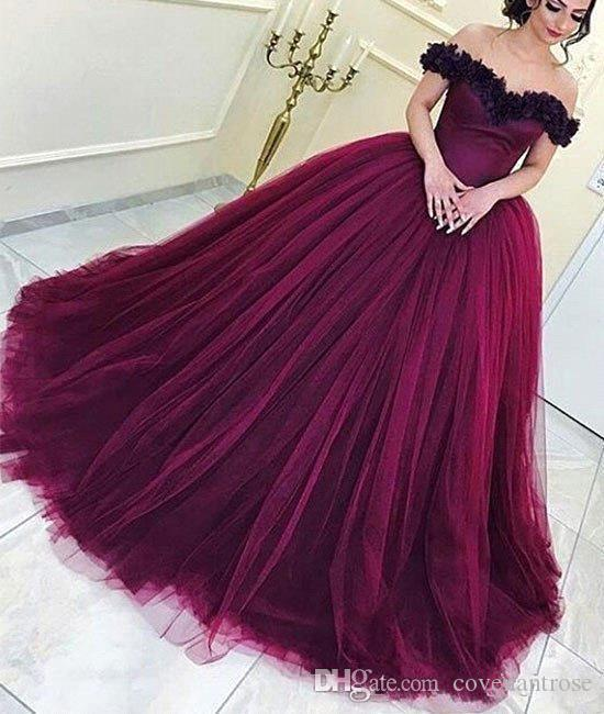 7fc7c2d077e New Arrival Wine Red Evening Gowns Off Shoulders Ball Gown Puffy Skirt  Formal Quinceanera Dresses Backless Arabic Prom Dresses