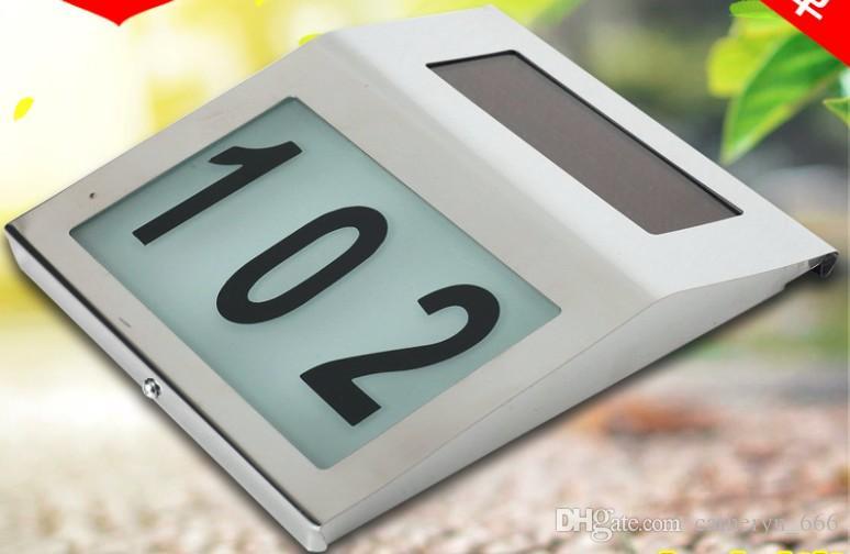 Plaque de porte en acier inoxydable à fonctionnement léger, éclairée par l'énergie solaire