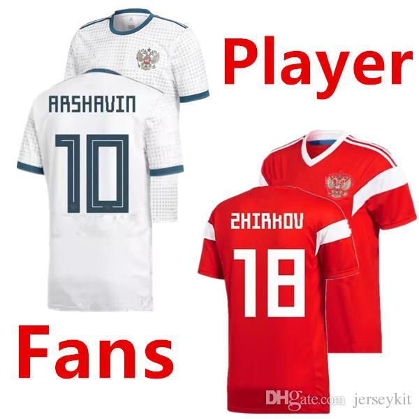 Compre 2018 Copa Do Mundo Rússia Camisas De Futebol Jogador Versão Russa  Fora Uniforme De Futebol Em Casa Thai Qualidade   10 Dzagoev   11 Smolov  Camisas De ... 658e7639ef02d