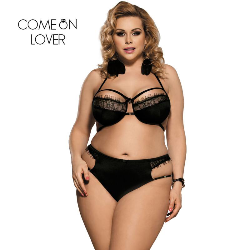 4e8f5761f2c Comeonlover Eyelash Lace Bra Transparent Bralette Plus Size Black Halter  Hollow Women Sexy Bra Intimates Sexy Bra Set RJ80294 S18101509 Cheap Bra  And Panty ...