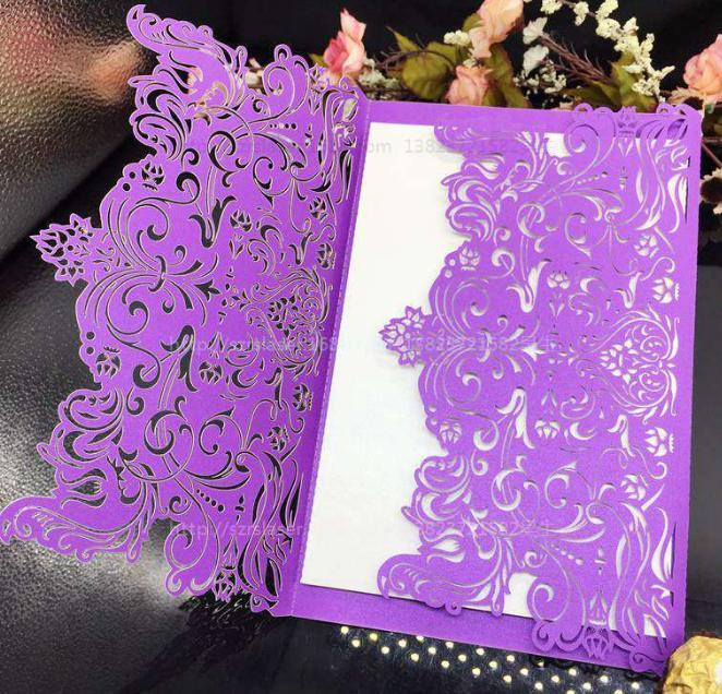 2018 New European Design Hollow Wedding Invitations Customized Laser Cut Wedding Party Invitation Cards