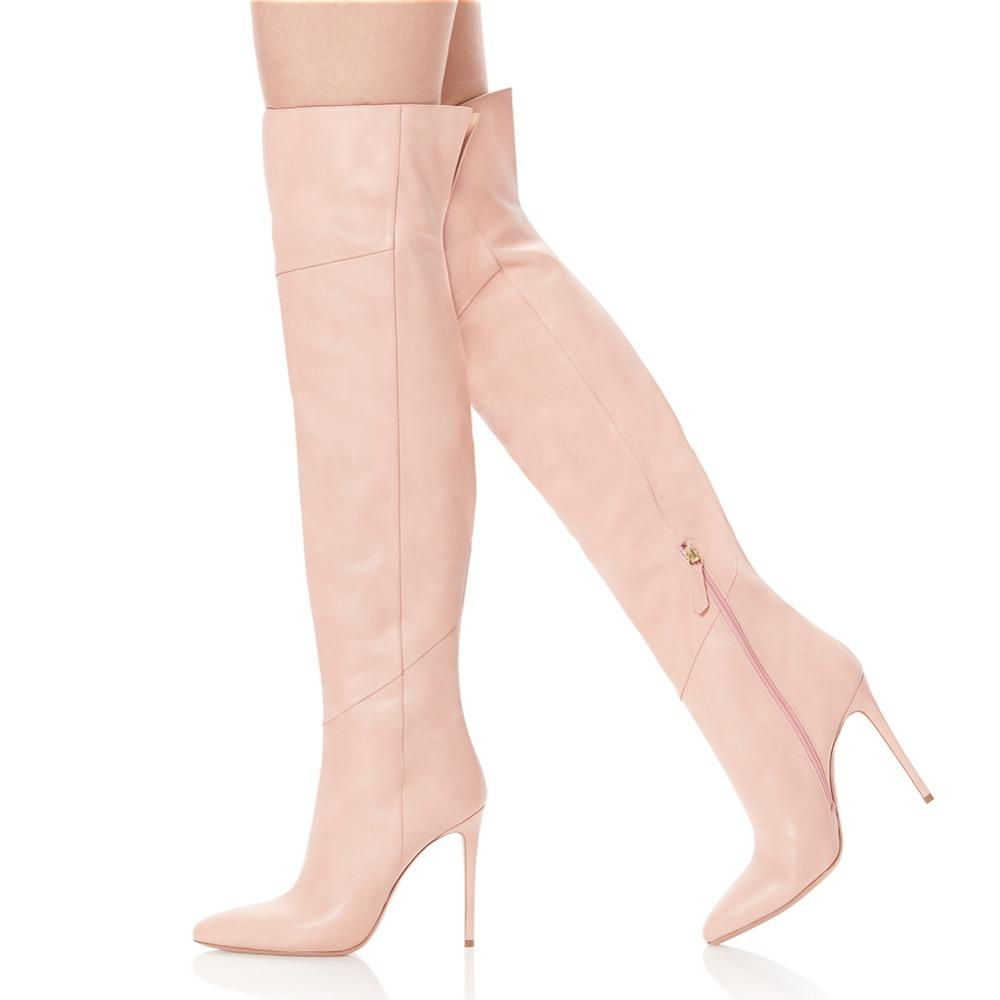 7c6038038c4 Women High Heel Pointed Toe Black Patent Leather Over The Knee High Boots  Pink Pointy Long Boots Ladies Winter Heels PU Shoes Over Knee Boots Boots  For ...