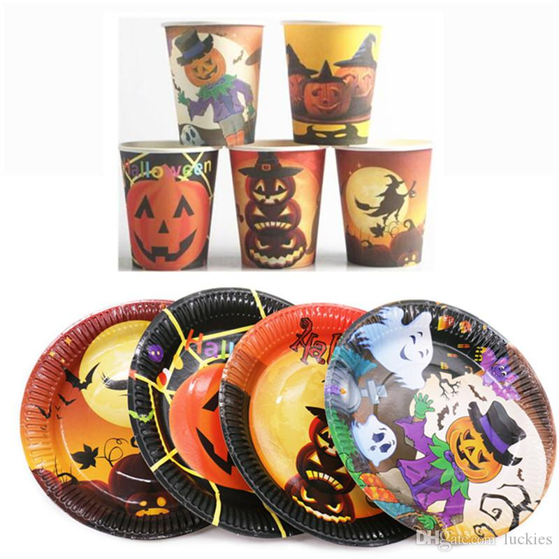 halloween disposable party tableware sets plates paper cups napkins paperboard party tableware favor accessories supplies 0283