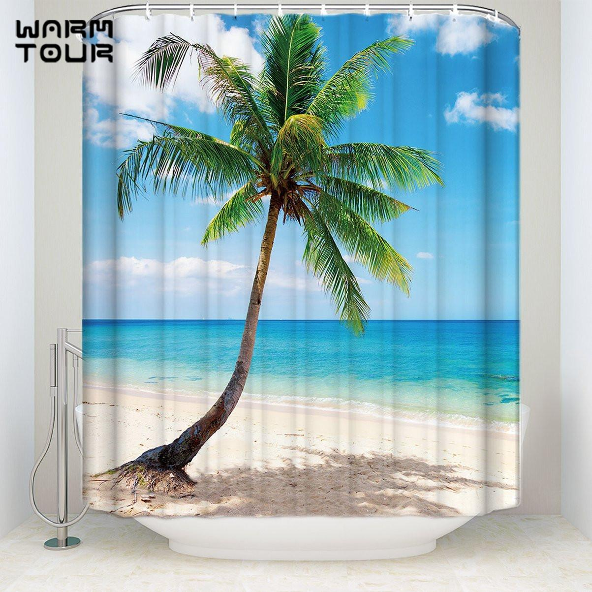 2019 Bath Shower Curtains 72 X 72 Tropical Coconut Palm Tree Sandy Beach  Mildew Resistant Bathroom Decor Sets With Hooks From Icelly, $27.06 |  DHgate.Com