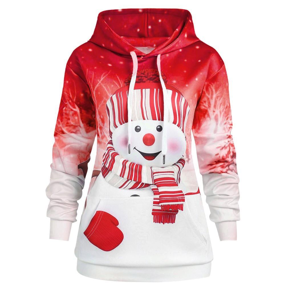 Da Donna Maglione Donna pupazzo di neve in Pile Lavorato a Maglia Lunga Pullover Felpa Vestito Natale