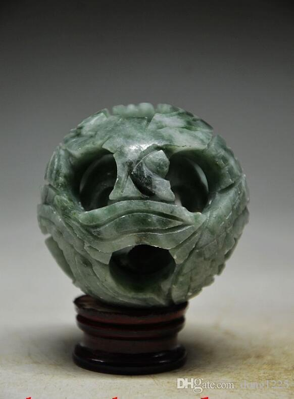 SPLENDIFEROUS JADE HAND-CARVED 3 LAYERS PUZZLE BALL WITH BASE >>>Free shipping