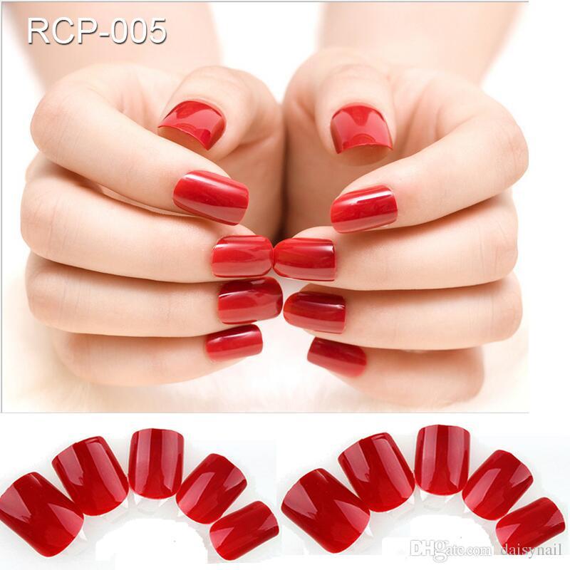 Foreverjasmine Full Cover Dark Red Self Adhesive Nail Polish Tips ...
