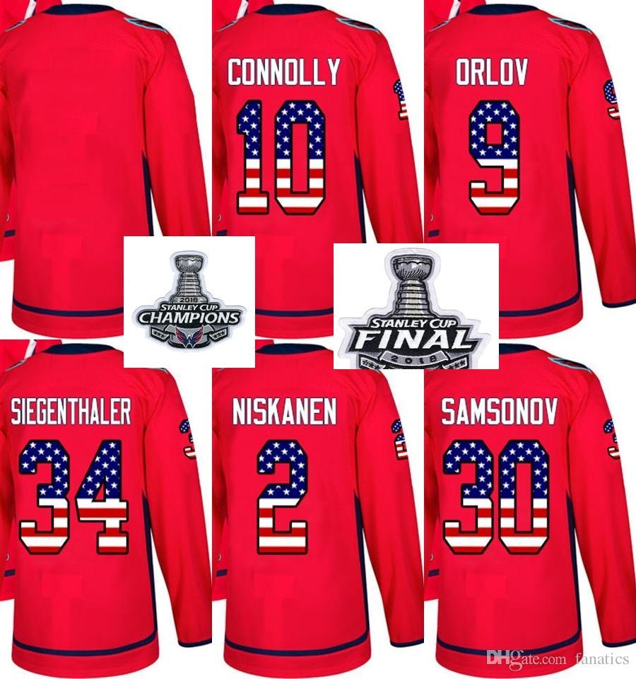 2019 2018 Stanley Cup Champions Men Women Kid Washington Capitals USA Flag  Connolly Orlov Siegenthaler Niskanen Samsonov Blank Hockey Jerseys From  Fanatics 9277d6bf4