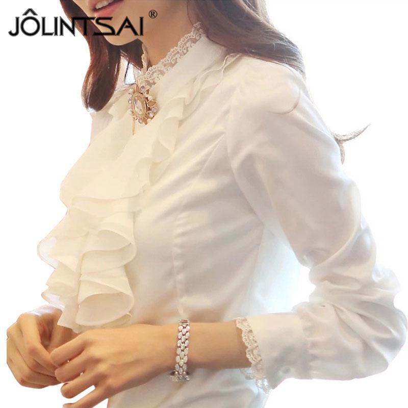 2016 Chemises Femmes Tops Élégant Col Montant Blusas Chemise Femme Chemise Femme À Manches Bouffantes Blouse Travail Bureau Blanc Blusas