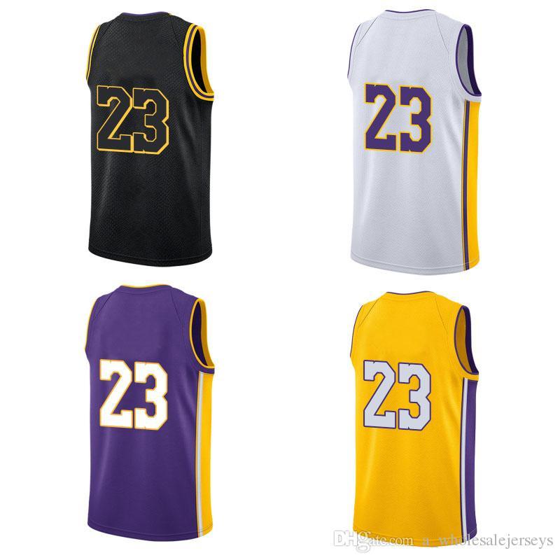 81e4b513b13 2019 2018 New LA Jersey 23 LeBron Stitched Jersey LA James Basketball  Jersey Embroidery Yellow Black Purple White Jerseys From  A wholesalejerseys