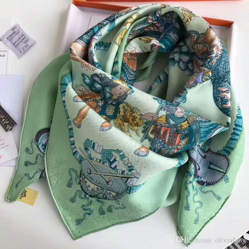 a6267c957486 Acheter Luxe Marque Designer 90   90 Cm Carré Foulards Pour Femmes 100%  Pure Soie Écharpes Et Châles Wraps Hijabs Marque Designer Silencieux  Bandeau Bandana ...