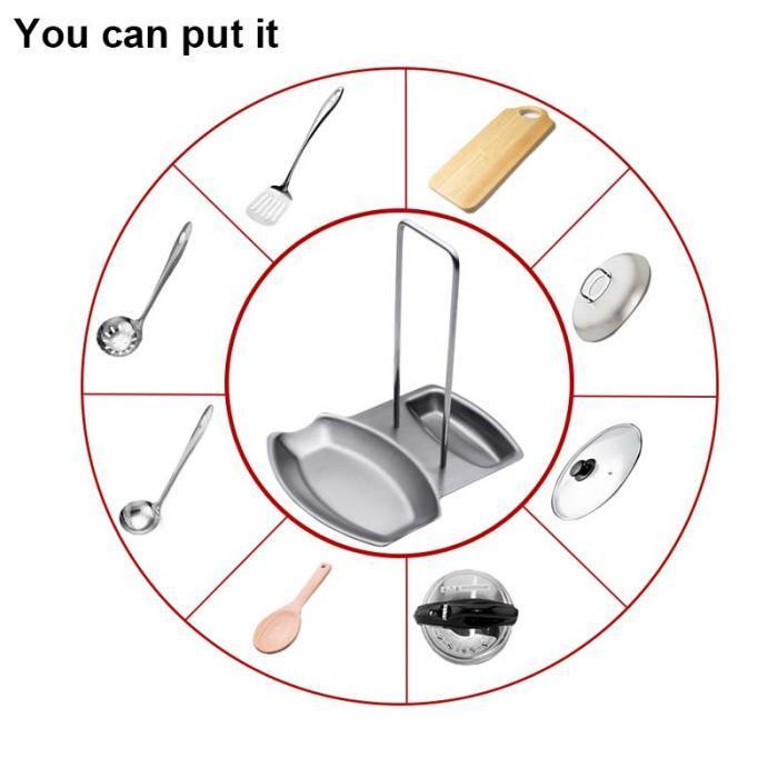 Edelstahl Pan Pot Rack Abdeckung Deckel Rest Stand Löffel Halter Hause Anwendung Die Waren Für Küche Zubehör