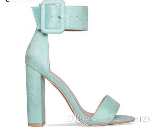 549ab310e0f Pink Mint Green Faux Suede Women Pumps Peep Toe High Heels Women Sandals  Ankle Buckle Strap Block Heels Women Shoes Blue Shoes Cheap Sandals From ...