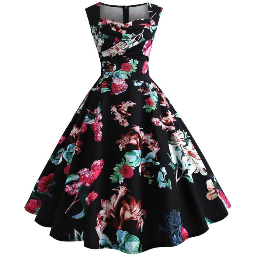 9d5641af2da1 Women Vintage Printing Bodycon Sleeveless Casual Evening Party Prom Swing Dress  Womens Long Sleeve Dresse Mid Calf Dress Purchase Sun Dresses Online From  ...