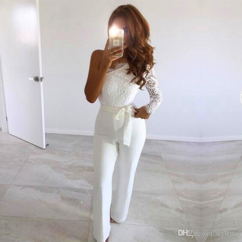 2019 Designer Women Muse White Jumpsuits 2018 Fashion Summer New One