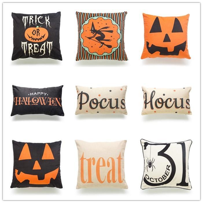 Halloween Decoration Pillow Case Cotton Linen Pumpkin Trick Or Treat Impressive Decorate Pillow Cases