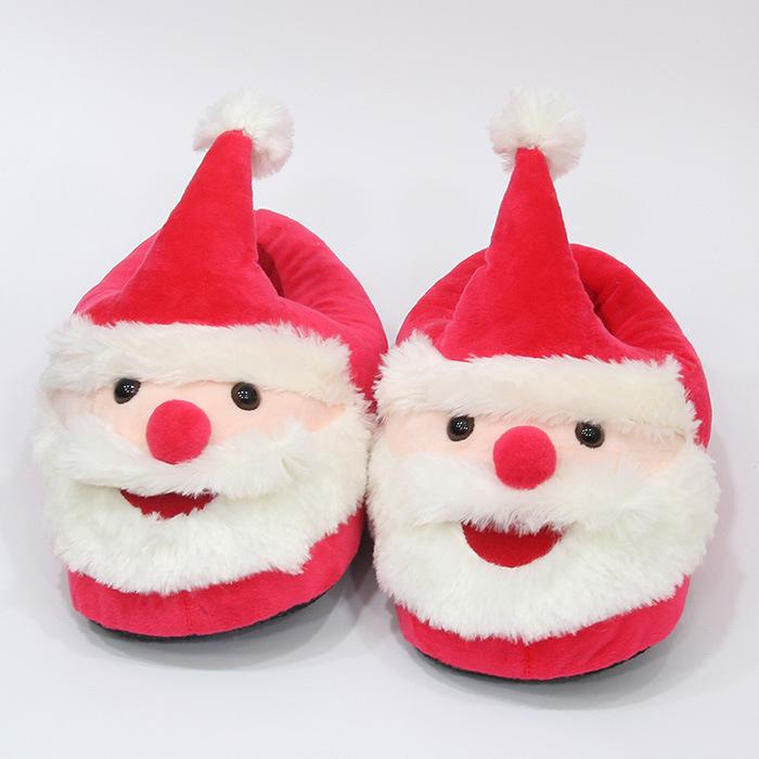 21cm Kids Santa Claus Plush Slippers Cartoon Full Heel Soft Warm ...