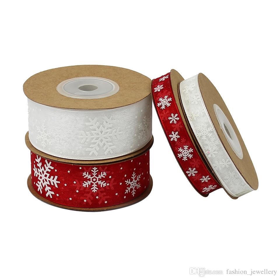 10mm 25mm organza ribbon snowflake christmas ribbons for handmade diy gift wrapping decoration wholesale 50metersbaby shower ribbon pins decorative ribbon