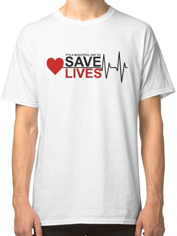 It S A Beautiful Day To Save Lives Men S White Tee Grey S Anatomy
