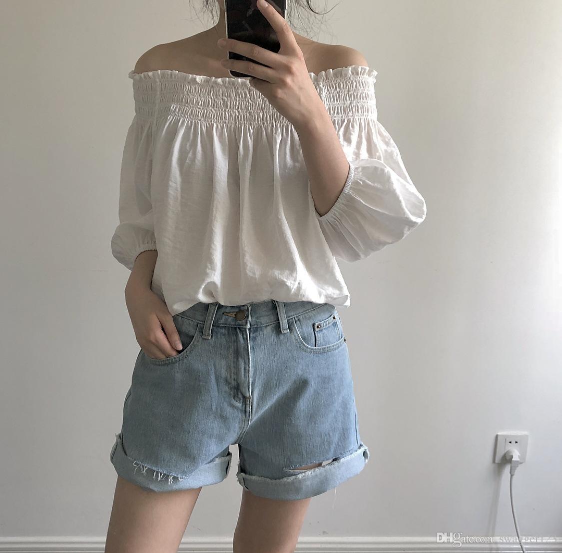 2018 Sommer neue whitefashionable und süße Ultra-Sound Wort Kragen Lotus Blatt elastische Kurzarm-Chiffon Bluse weiblich