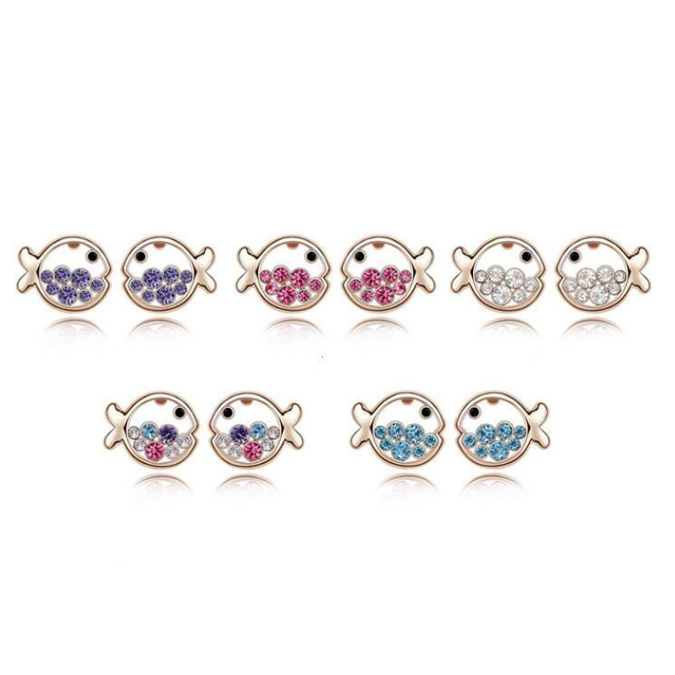 Fashion Sweet Fish Stud Earrings Made With Genuine Austrian Crystals Brincos Jewelry For Woman Cute Pendientes