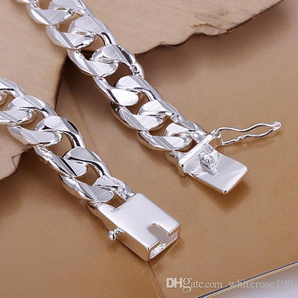 Le nuove donne di alta qualità UOMINI nobili 925 argento solido ha placcato i braccialetti dei monili di modo i regali Mens 10MM braccialetto piacevole quadrato dei monili