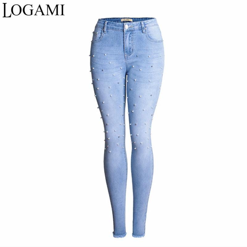 2018 Jeans Frau Perle Perlen Zerrissenen Jeans Für Frauen Stretch Hohe Taille Plus Größe 3xl Frauen Jeans Weiblichen Jeans Hosen Frauen Kleidung & Zubehör