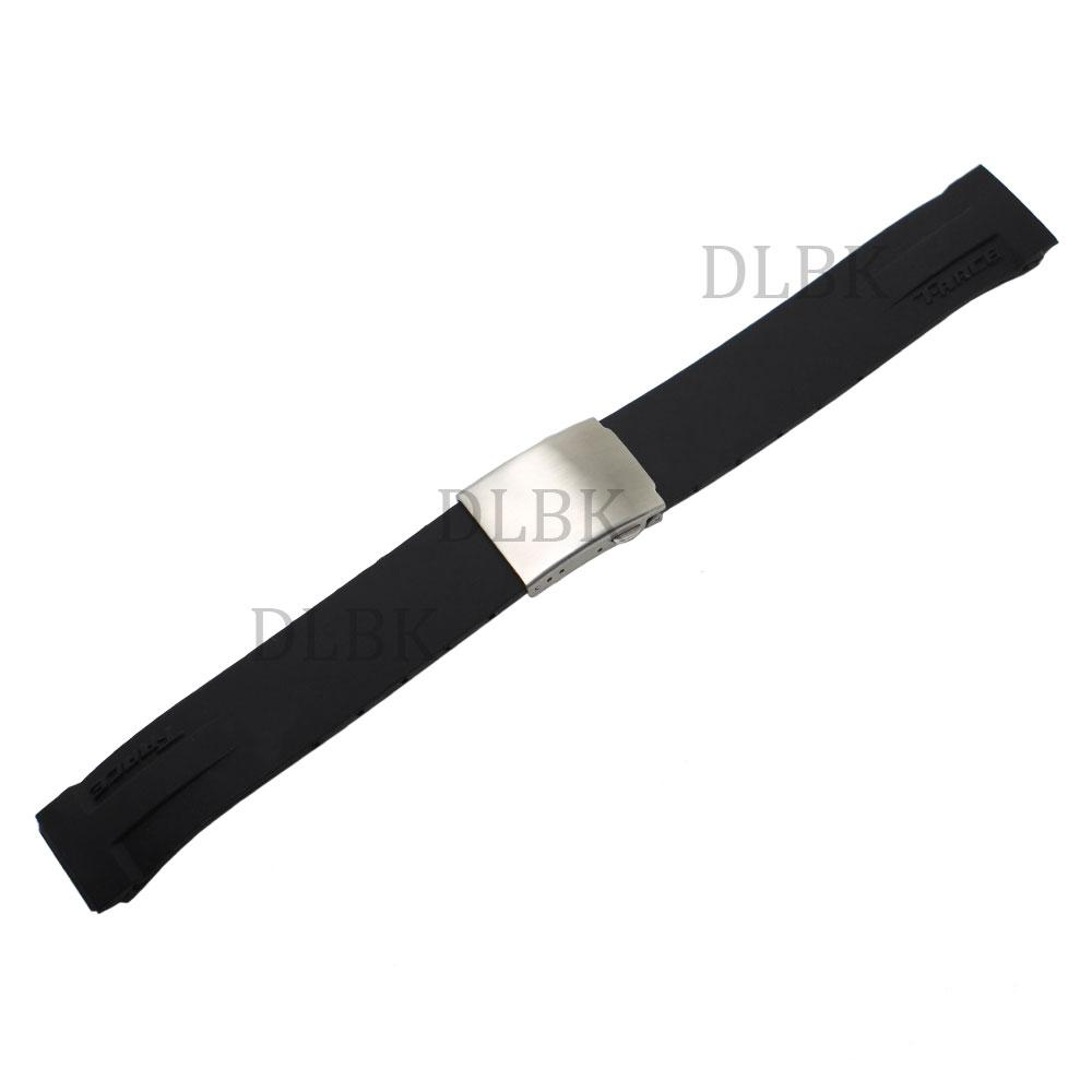 85d58871433 21mm Black Silicone Rubber Diver Watch Band Strap Stainless Steel ...