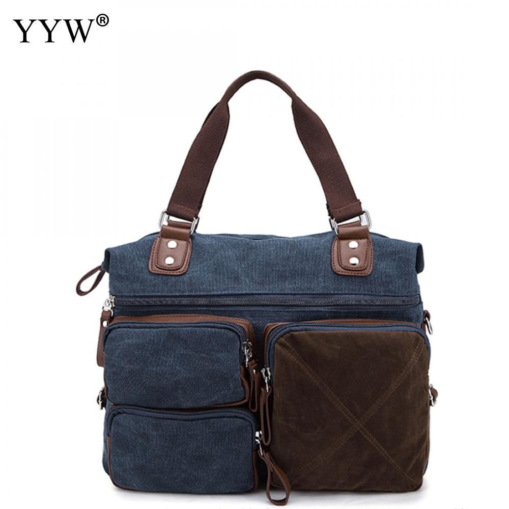 9970a9420de8 Fashion Canvas Unisex Handbags Blue Tote Bag For Men Coffer Color Women  Satchels Bags Black And Grey Male Soft Top Handle Bag Backpacks Handbags  From Sunace ...