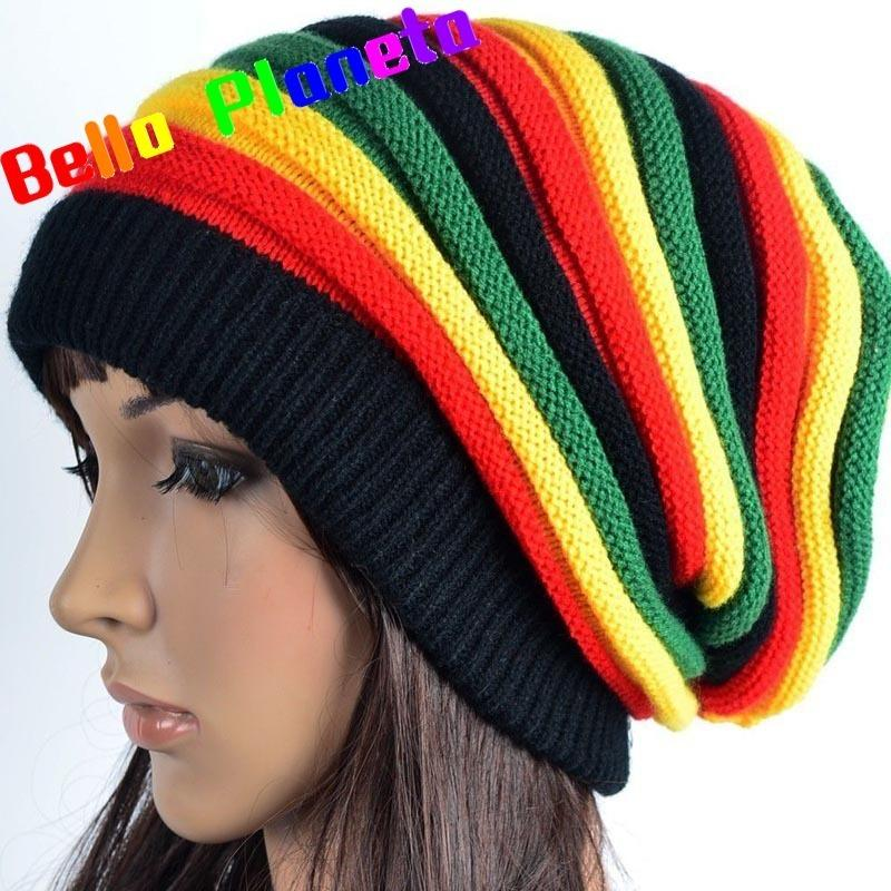 befc841469b 2018 New Popular Autumn And Winter Jamaican Reggae Wool Hat Color Stripes  Long Rainbow Knitted Headgear Army Cap Cheap Hats From Dujuanflower