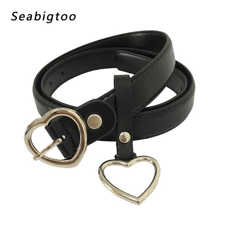 b1468fd302 Compre Pin Correas De Hebilla De Corazón Para Las Mujeres De Los Hombres De  Cuero De La PU Cinturones De Cuero Negro Diseñador Masculino Para Pantalones  ...