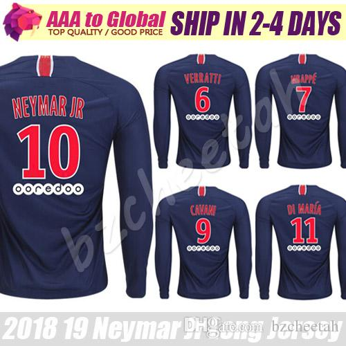 76cf85c2692 Neymar Long Sleeve Jerseys 2019 Long Sleeve Mbappe Cavani Verratti ...