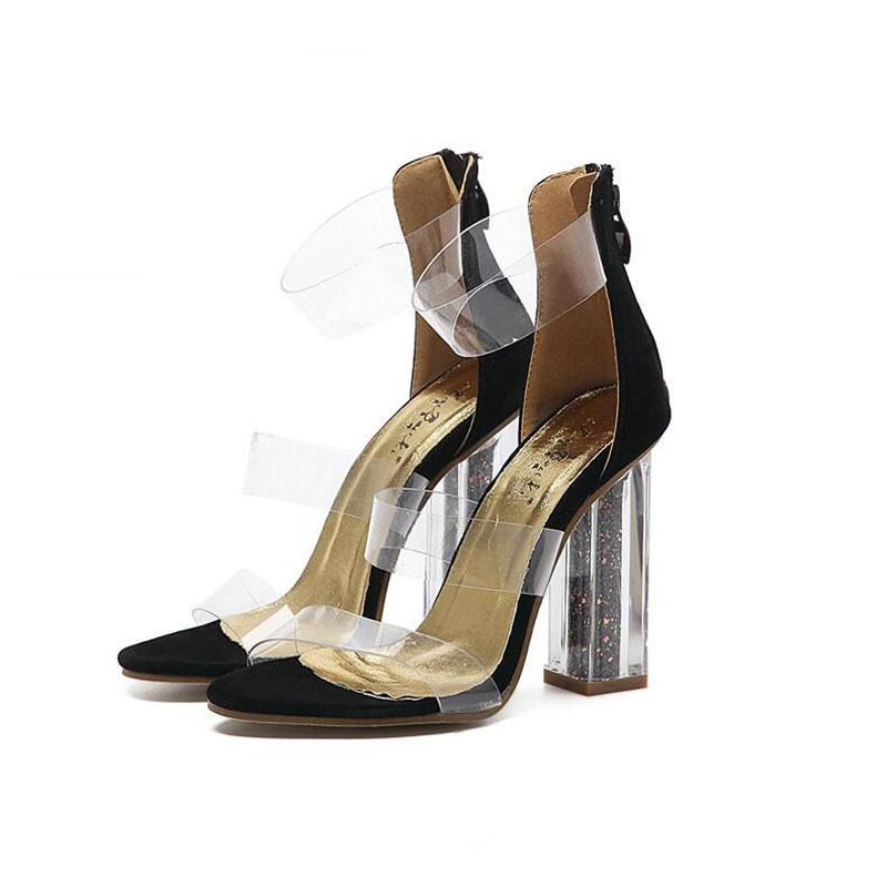 8bd3ef55ed58 Ladies Sandalias Ankle Strap Pumps Girls Wedding Chunky Clear High Heels  Jelly Women Sandals Summer Shoes Woman Sexy Shoes Gold Wedges Red Wedges  From ...