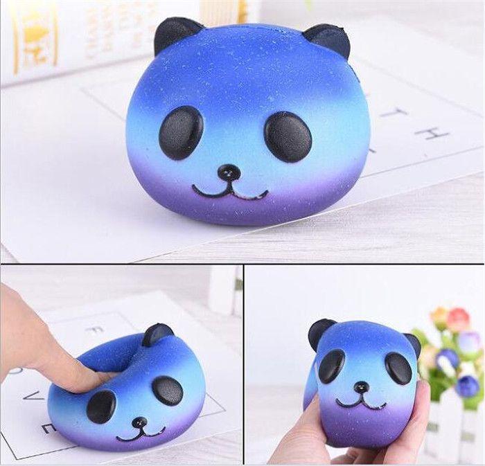 Fun Kid Toy Xmas Cartoon Cake Bun Jumbo 10cm Cute Emoji Colorful Face Panda Squishy Bread Slow Rising Excellent Quality Mobile Phone Accessories Mobile Phone Straps