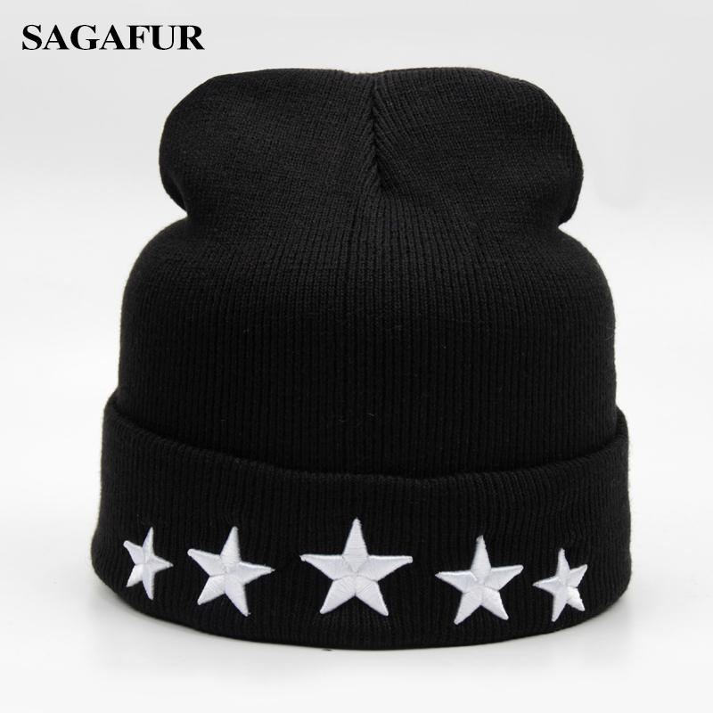 46b0e664 Cotton Outdoor Stretch Knit Hat Embroidery Letter Stars Black Cap Winter  Warm Skiing Hat Benies Slouch Skullies Drop Shipping