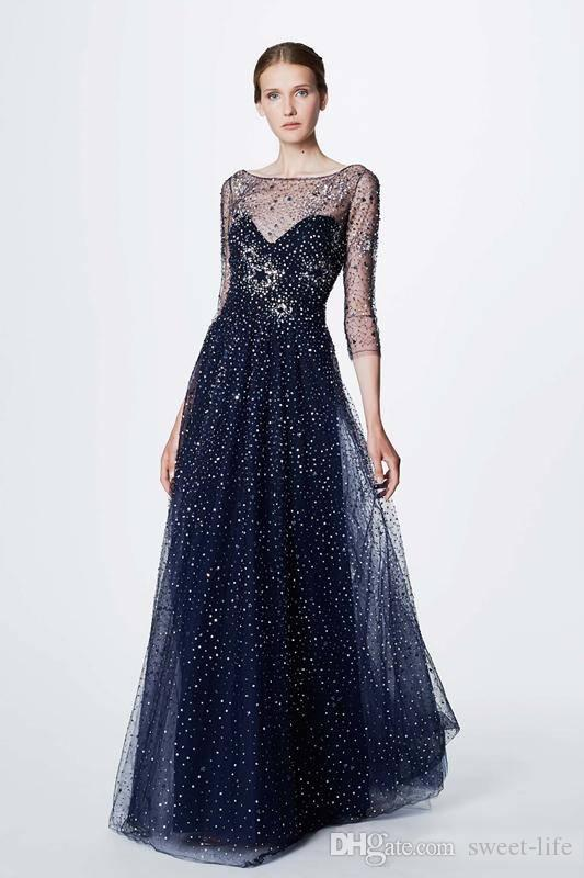 Gorgeous 2019 Long Evening Dresses marchesa notte resort Party Prom Dress Long Sleeve Celebrity Bateau Neck Evening Gowns Maxi Dress