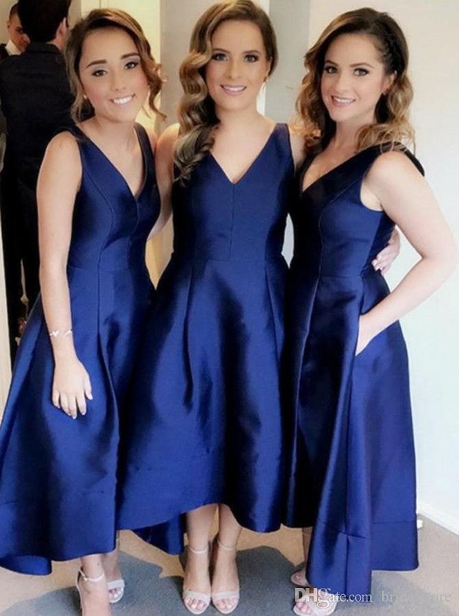 334aa69e86 Compre Vestidos De Dama De Honor De Diseño Azul Marino Hasta El Tobillo  Vestido De Dama De Honor De Tafetán Corto Vestidos De Dama De Honor  Modestos ...