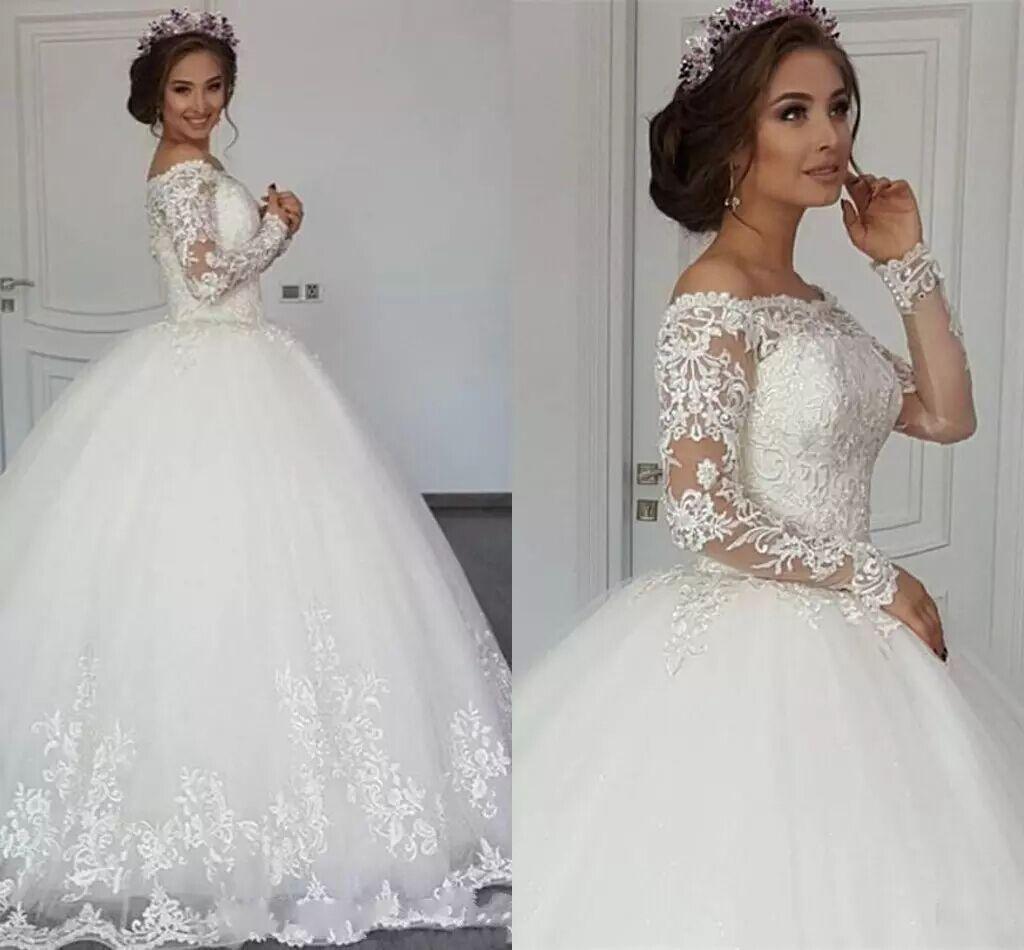 2018 New Elegant Lace Arabic Ball Gown Wedding Dresses