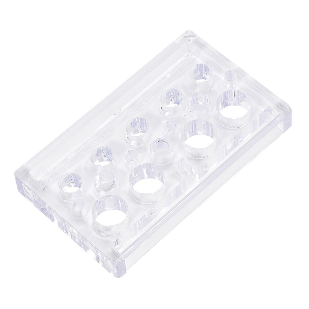 16 Holes Rectangle Acrylic Tattoo Ink Cup Clear Crystal Permanent Makeup Pigment Cups Caps Storage Container Rack Holder Stand
