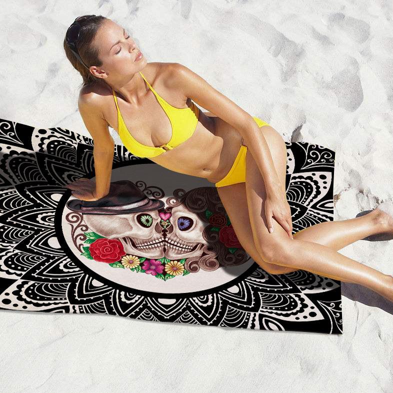 Rectangle plage serviette crâne rose motif imprimé bikini châle filles serviette de bain été extérieur soleil bloc yoga coussin