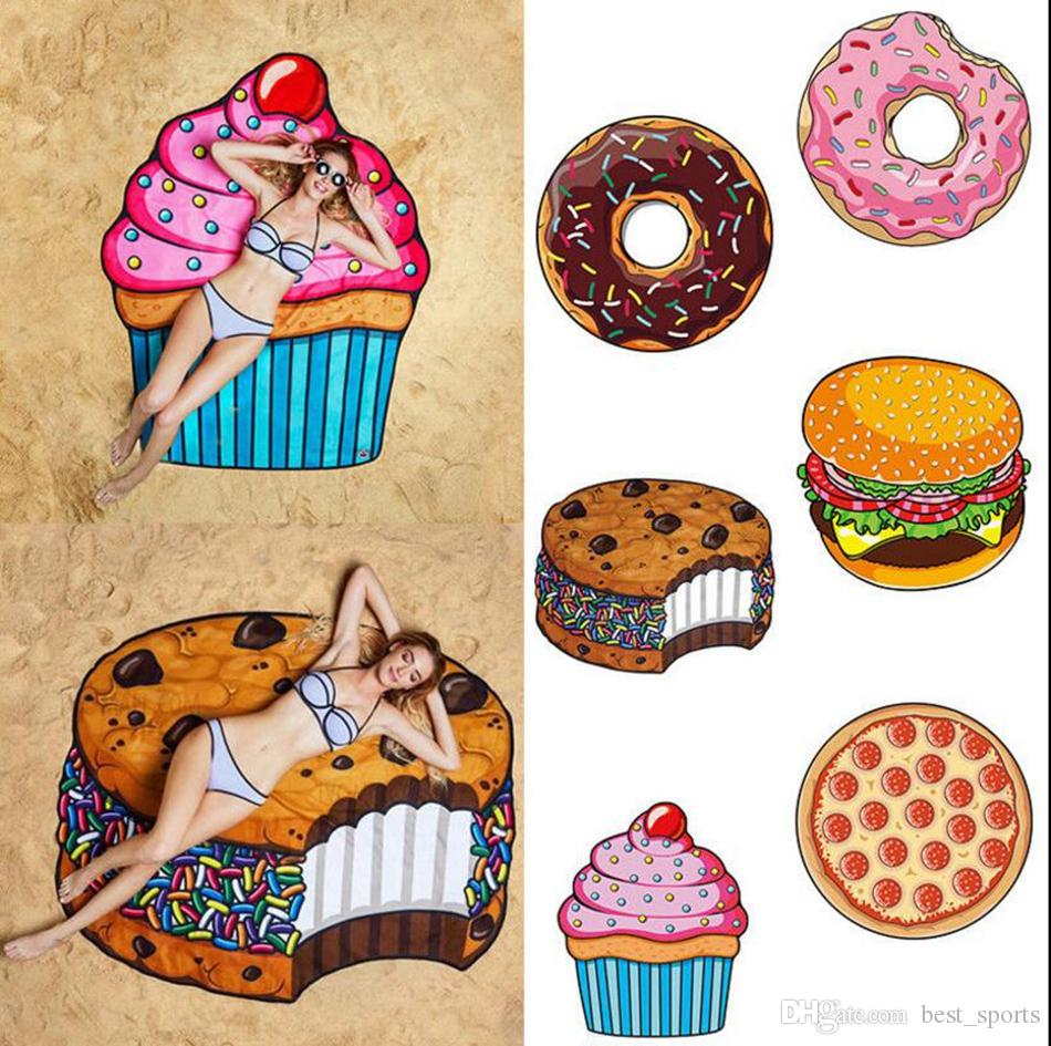Round 3D Print Beach Towel Cute Food Fruit Pattern Printed Towel Donuts Hamburgers Shawl Scarf OOA4704