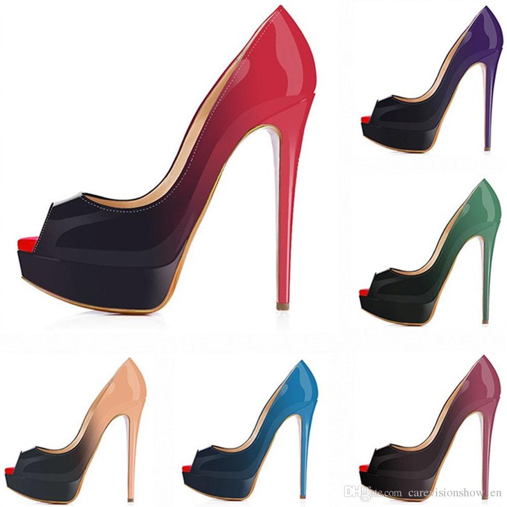 Women Pumps Platform Peep Toe Sexy Extremely High Heels Shoes Woman ... 91ac1805c7c4