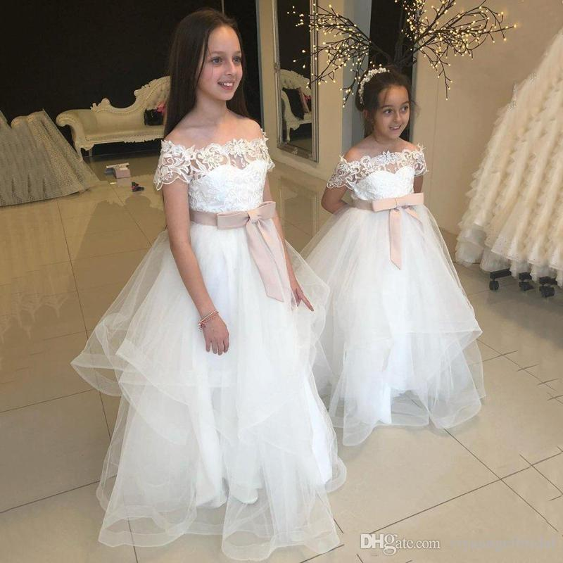 c6bdc09fb55 2019 White Bateau Flower Girls Dresses Off Shoulder Short Sleeves A Line  Blush Pink Sash Tiered Custom Girl Pageant Birthday Kid Party Gowns Girls  Spring ...