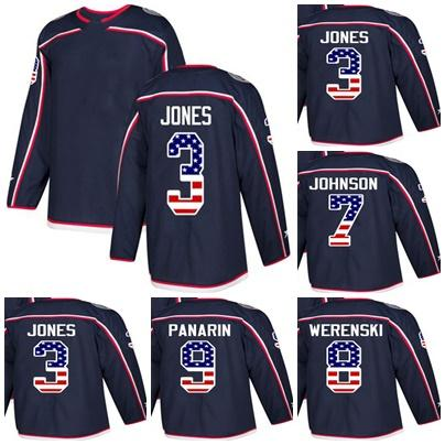 New Custom Mens Momens Kids Columbus Blue Jackets 3 Seth Jones 7 Jack Johnson 8 Zach Werenski 9 Artemi Panarin USA Flag Ice Hockey Jerseys