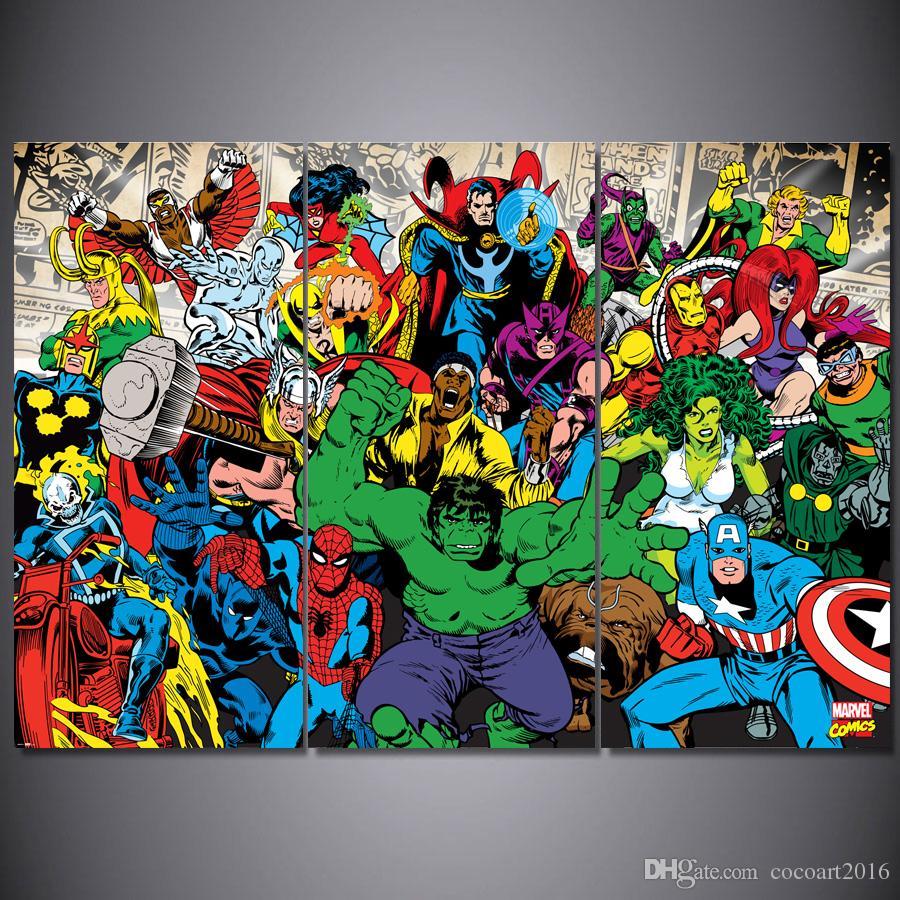 Satın Al 3 Parça Baskılı Boyama Hulk örümcek Adam Boyama Oturma