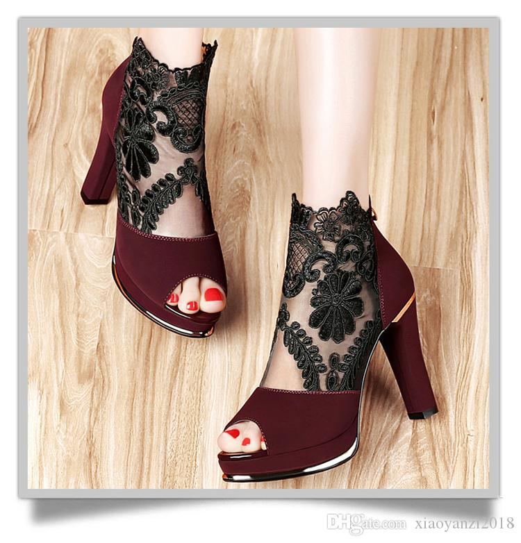 Milan fashion Italian leather shoes 2018 summer new fish mouth female thick with thick-soled high-heeled sandals