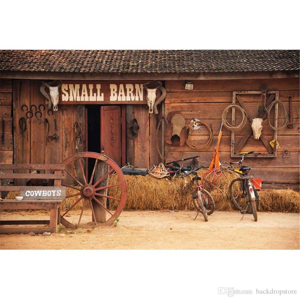 2018 Small Barn Wooden Door Vintage Photography Backdrop Rustic Digital Printed Haystack Bikes Cowboys Baby Newborn Studio Photo Shoot Background From