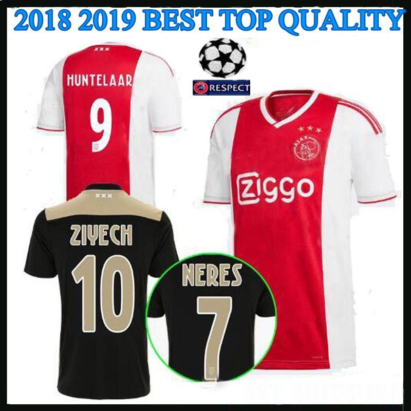 cc6be3611ccad 2018 2019 Ajax Liga De Campeones De Local Lejos Camiseta De Fútbol  HUNTELAAR KLAASSEN NERES 18 19 Ajax Negro Camiseta De Fútbol Superior  Calidad Tailandesa ...